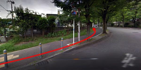 あとは道なりに並木道を進んでください。もうすぐです!!